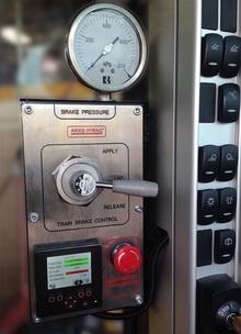 Train brake control panel