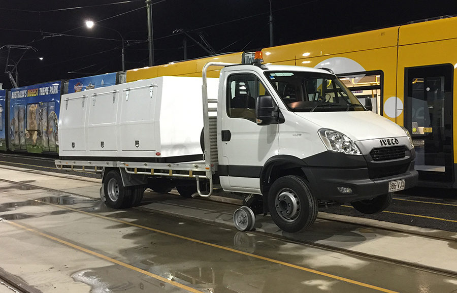 Iveco Daily with Aries Hyrail road-rail vehicle conversion for standard gauge rail