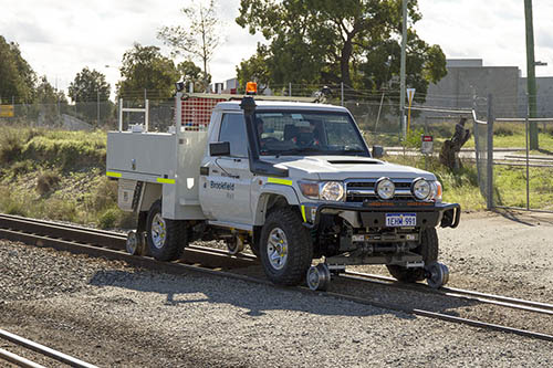 Aries Hyrail Land Cruiser road-rail conversion for standard gauge